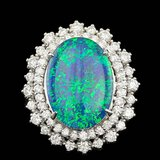 14k White Gold 6.50ct Opal 1.15ct Diamond Ring