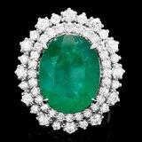 14k White Gold 8.10ct Emerald 1.80ct Diamond Ring