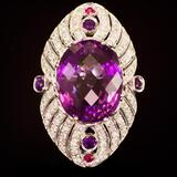 14K Gold 27.00ct Amethyst, 0.08ct Ruby 1.70ct Diamond Ring