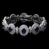 14K White Gold,23.00cts Sapphire & 14.89cts Diamond Bracelet