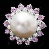 14k Gold 13 X 13mm Pearl 0.75ct Diamond Ring