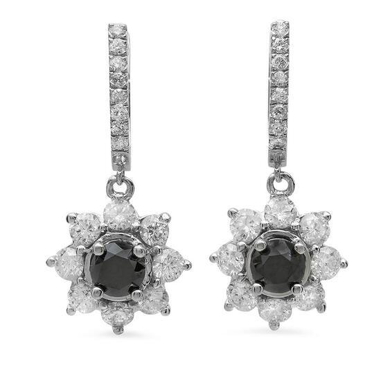 14K Gold 2.53ct Fancy Color Diamond 6.20ct Diamond Earrings