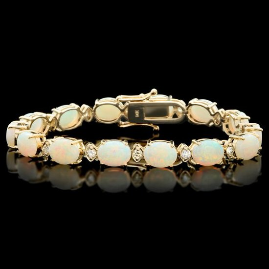 14k Gold 15.00ct Opal 1.10ct Diamond Bracelet