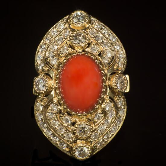 14K Gold 5.07ct Coral 2.72ct Diamond Ring