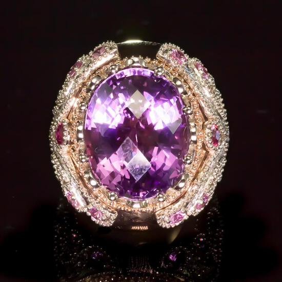 14K Gold 16.5ct Amethyst, 1.10ct Fancy Color Sapphire 1.25ct Diamond Ring