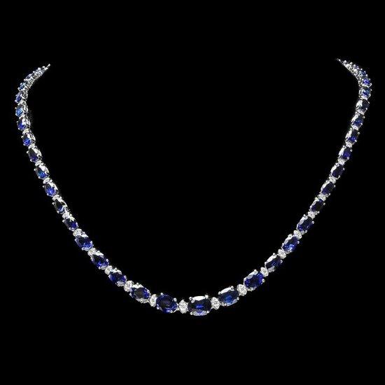 14k Gold 37.00ct Sapphire 1.60ct Diamond Necklace