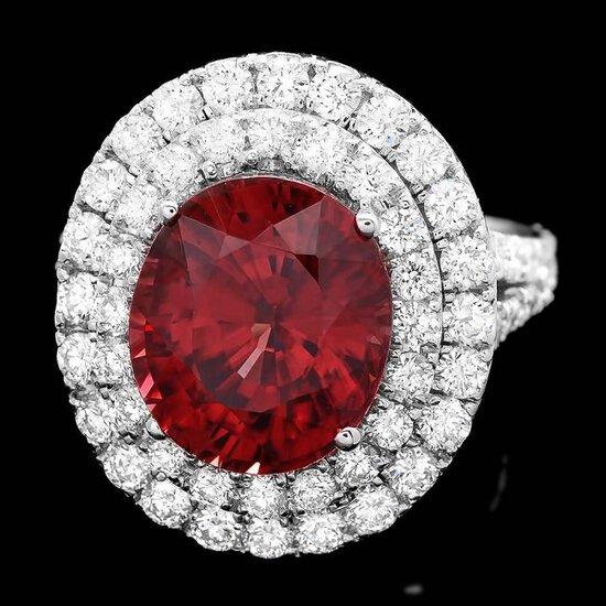 14k White Gold 8.50ct Zircon 2.10ct Diamond Ring
