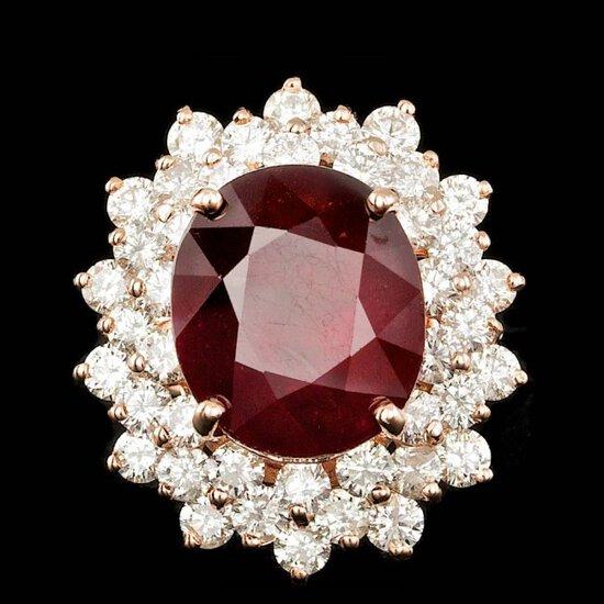 14k Rose Gold 13.00ct Ruby 3.20ct Diamond Ring