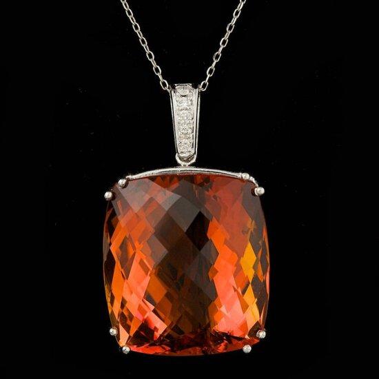 14k Gold 64.00ct Citrine 0.20ct Diamond Pendant