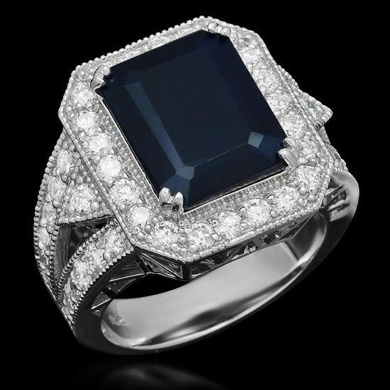 14K Gold 6.20ct Sapphire 1.65ct Diamond Ring