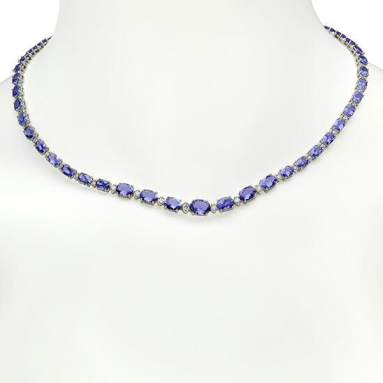 14K Gold 23.52ct Tanzanite 1.05ct Diamond Necklace
