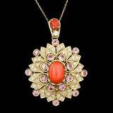 14k Gold 7.00ct Coral 1.80ct Diamond Pendant