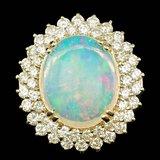 14k Yellow Gold 9.00ct Opal 3.15ct Diamond Ring