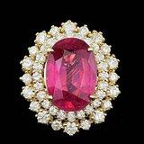 14k Yellow Gold 7.00ct Ruby 1.50ct Diamond Ring
