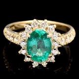 14k Gold 1.70ct Emerald 0.75ct Diamond Ring