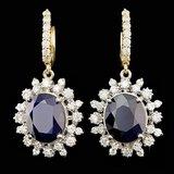 14k Gold 13.00ct Sapphire 2.25ct Diamond Earrings