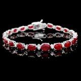 14k Gold 14.00ct Ruby 0.70ct Diamond Bracelet