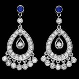 14k Gold 3ct Diamond 0.70ct Sapphire Earrings