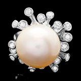 14k White Gold 15mm Pearl 0.85ct Diamond Ring