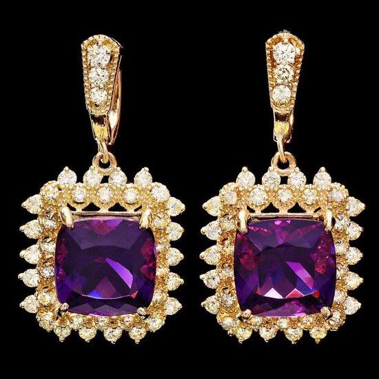 14k Gold 15ct Amethyst 2.7ct Diamond Earrings