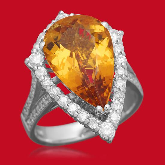 14K Gold 5.46ct Yellow Beryl 1.10ct Diamond Ring
