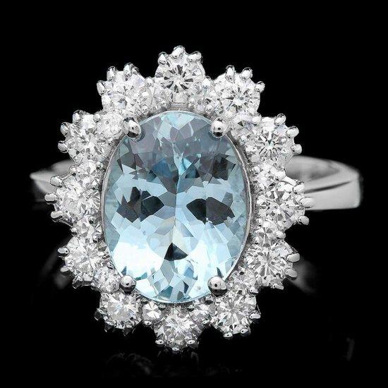 14k Gold 1.25ct Aquamarine 1.25ct Diamond Ring