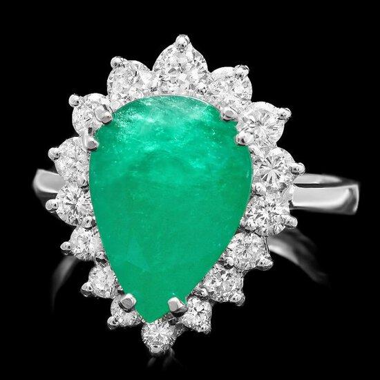 14k White Gold 4.40ct Emerald 1.00ct Diamond Ring