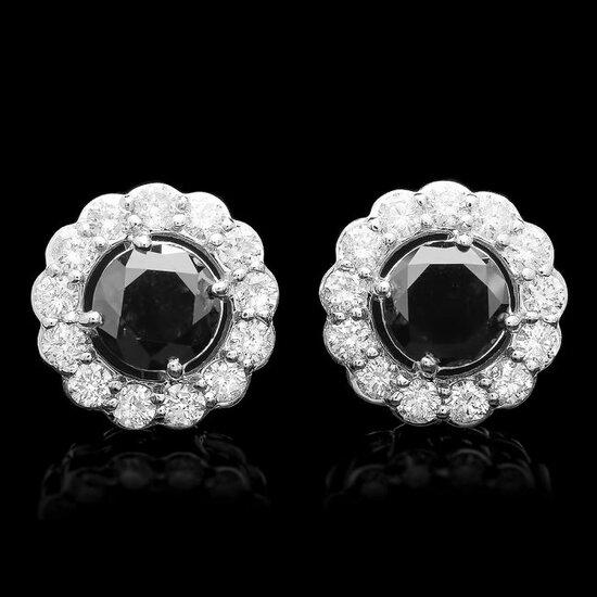 14k White Gold 3.9ct Diamond Earrings