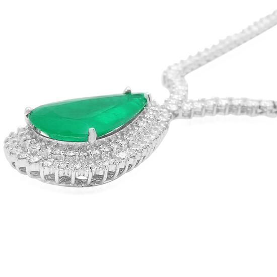 18K Gold 12.58ct Emerald 7.70ct Diamond Necklace