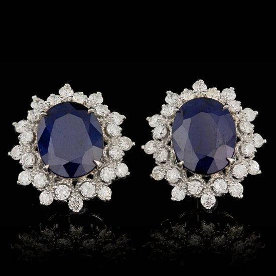 14k Gold 7.00ct Sapphire 1.30ct Diamond Earrings