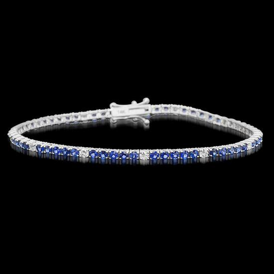 14k White Gold 3.42ct Sapphire 0.71ct Diamond Bracelet