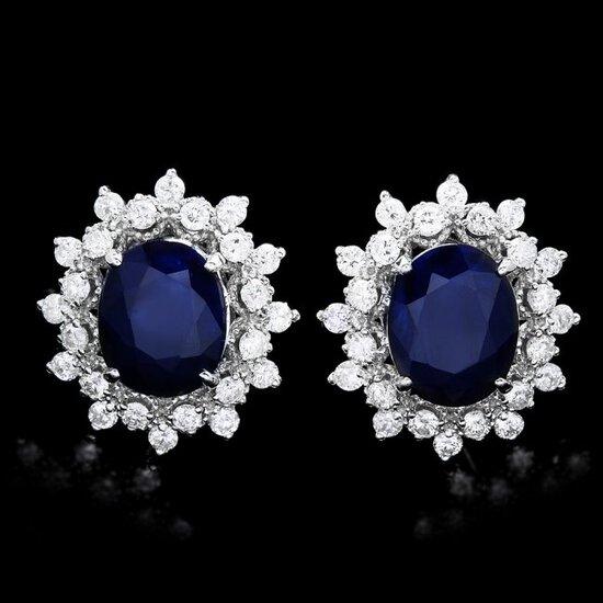 14k Gold 6ct Sapphire 1.30ct Diamond Earrings
