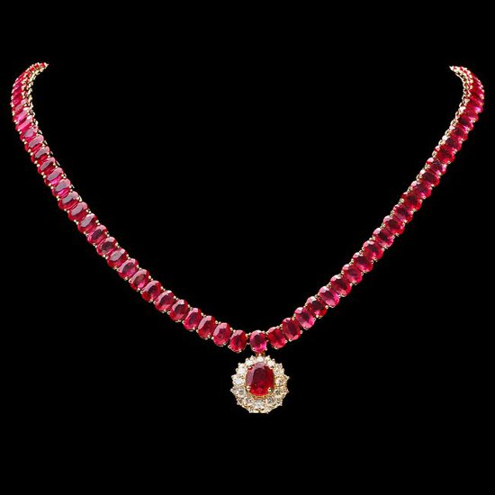 14k Gold 65.5ct Ruby 1.35ct Diamond Necklace