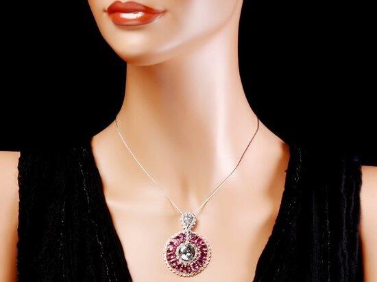 14k Solid Aquamarine Sapphire Diamond Pendant