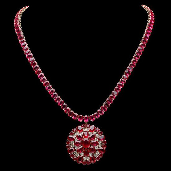 14k Gold 90.5ct Ruby 1.80ct Diamond Necklace