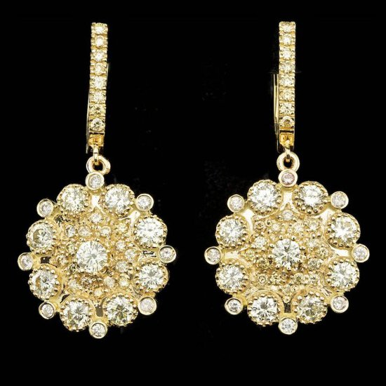 14k Yellow Gold 5.00ct Diamond Earrings