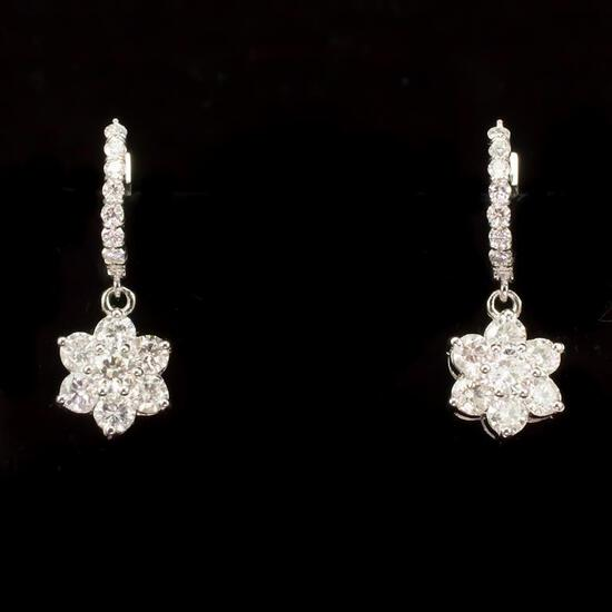 14k Gold 3.40ct Diamond Earrings