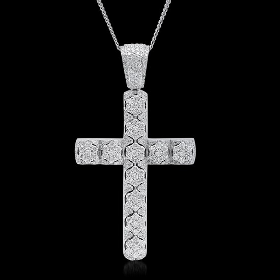 14K White Gold 11.00cts. Diamond Pendant