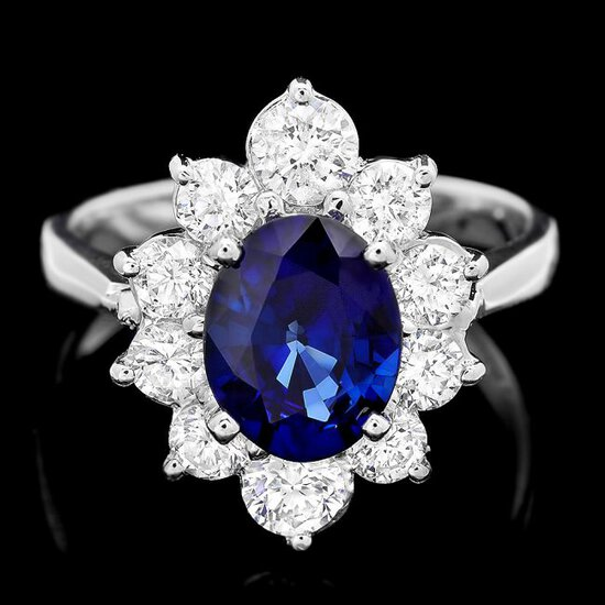 18k Gold 1.70ct Sapphire 1.20ct Diamond Ring