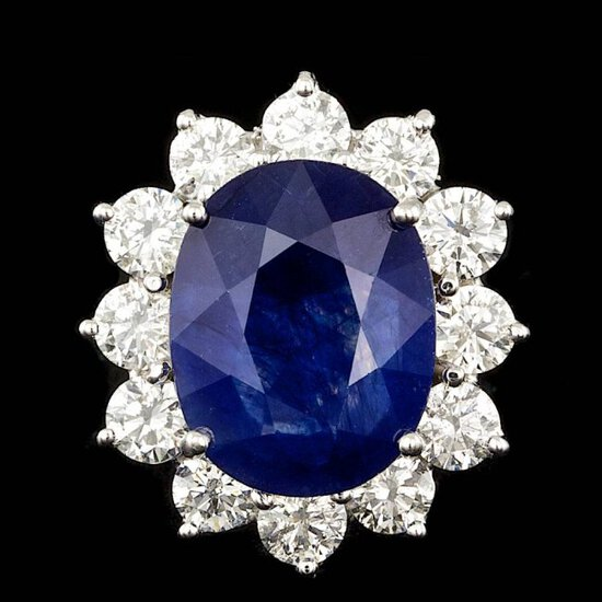 14k Gold 8.50ct Sapphire 2.50ct Diamond Ring