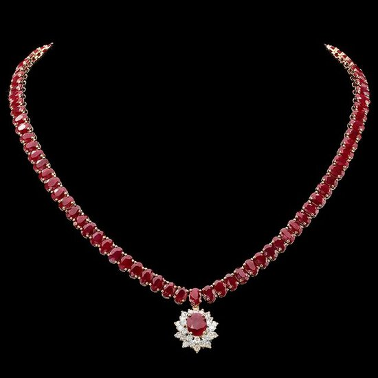 14k Gold 60.5ct Ruby 1.40ct Diamond Necklace