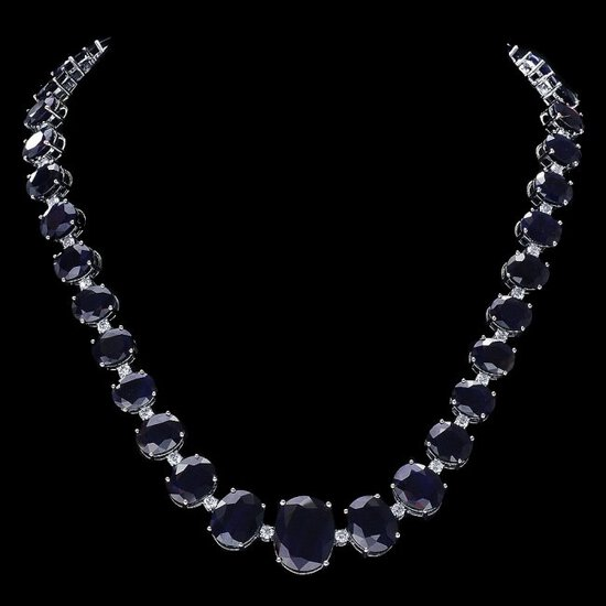 14k Gold 143ct Sapphire 4ct Diamond Necklace