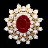 14k Yellow Gold 4.00ct Ruby 2.00ct Diamond Ring