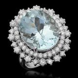 14K Gold 12.15ct Aquamarine 1.75ct Diamond Ring