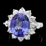 14k Gold 7.50ct Tanzanite 2.00ct Diamond Ring