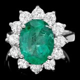 14k White Gold 4.00ct Emerald 1.90ct Diamond Ring