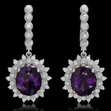 14K Gold 9.25ct Amethyst 1.44ct Diamond Earrings