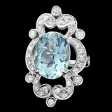14k Gold 7.00ct Aquamarine 1.15ct Diamond Ring