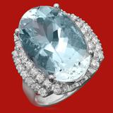 14k Gold 12.01ct Aquamarine 0.90 Diamond Ring