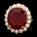 14k Yellow Gold 21.50ct Ruby 2.00ct Diamond Ring
